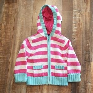 Pink and blue striped sweater with zipper